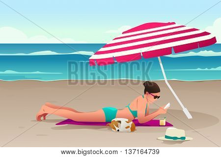 A vector illustration of woman sunbathing on the beach