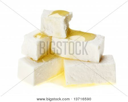 Feta Cheese Cubes With Olive Oil Drops