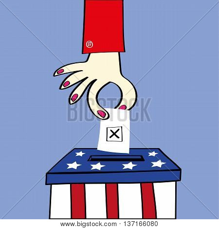 Ballot or voting box in the stars and stripes of the USA flag with a woman hand placing her ballot paper to vote in the election