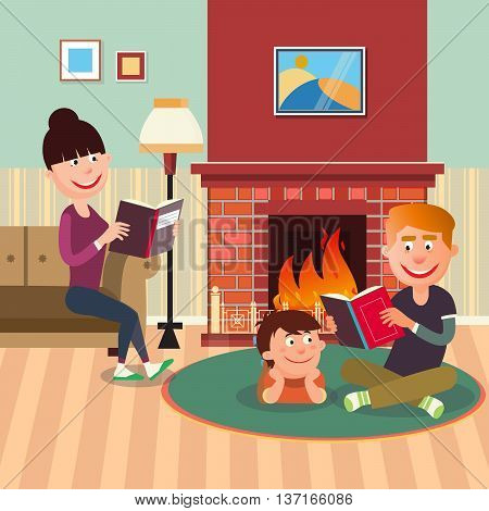 Father Reading Book to his Son near Fireplace. Mother Reading Book. Vector illustration