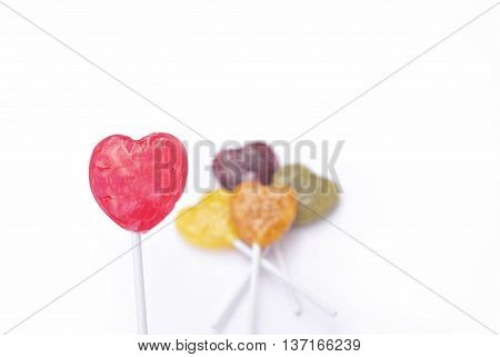 Heart shaped Lollipop Candy on white background