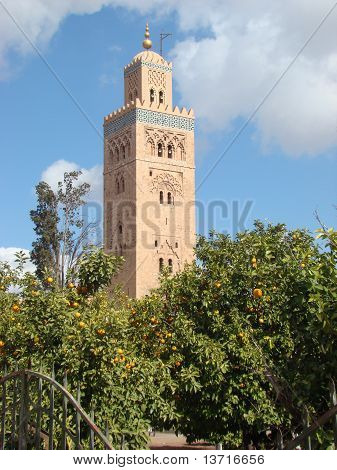 View of the Koutoubia with Palm Tree