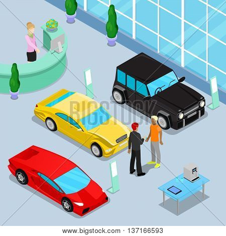 Car Sales Showroom Interior with Offroad Car and Sport Cars. Customer Buying a New Car. Isometric Transport. Vector illustration