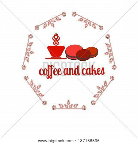 Coffee and cakes label, logo, vector illustration