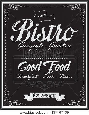 Vintage black school board bistro menu