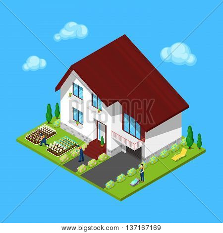 Modern Cottage House with Green Yard and Gardeners. Isometric Building. Vector illustration