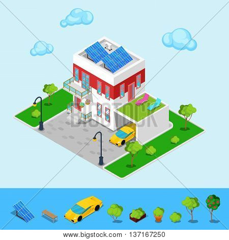 Modern Cottage House with Sun Batteries, Garage and Green Roof. Isometric Building. Vector illustration