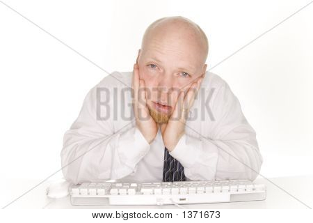 Tired Business Man Viewing Computer