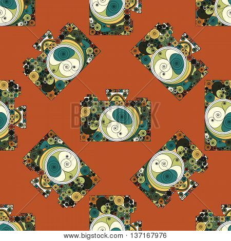 Seamless pattern with photographic cameras drown in quilling colorfull style. Vintage designed vector art background. Unusual stylish image.