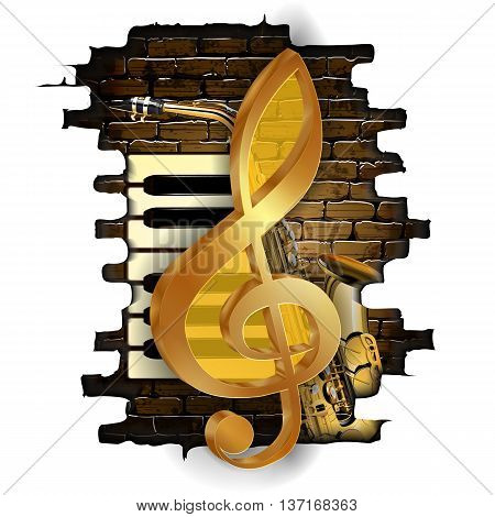 Vector illustration golden treble clef on a background of a brick wall and saxophone and piano keys. Isolated objects can be used with any image or text.