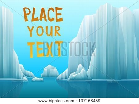 Illustration of a polar landscape with icebergs or iced shores. Vector.