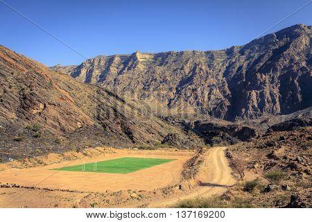 A football field in the Al Hajar Mountains in Oman
