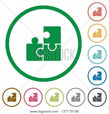 Set of puzzles color round outlined flat icons on white background
