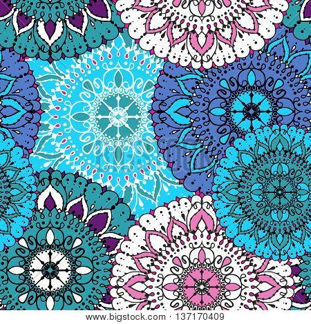 Vector Seamless Pattern With Circular Floral Ornament