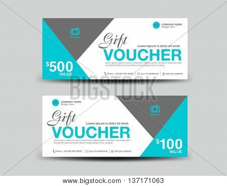 Blue Gift Voucher template flyer design polygon background coupon layout ticket Discount card vector illustration