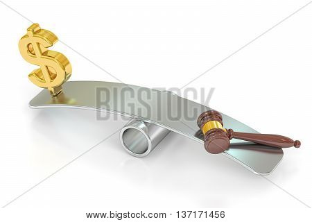 balance concept law and money. 3D rendering isolated on white background