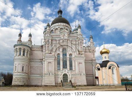 Orthodox convent Our Lady of Kazan in Vyshny Volochyok Russia. The Kazan Cathedral and the chapel of Vera Nadezhda Lyubov and their mother Sophia.