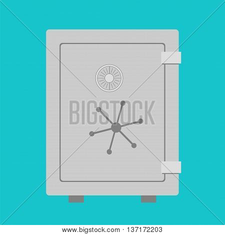 Steel safe for cash and currency storage. Vector illustration of secure vault for financial system banking. Flat style