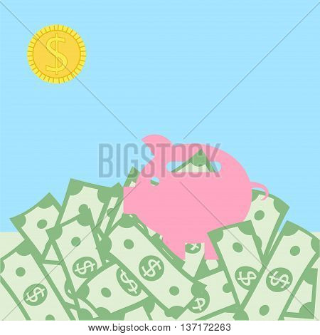 Money concept with green dollars as grass and golden coin as sun with pig box. Vector illustration for financial growth banking abundance income start up market gain