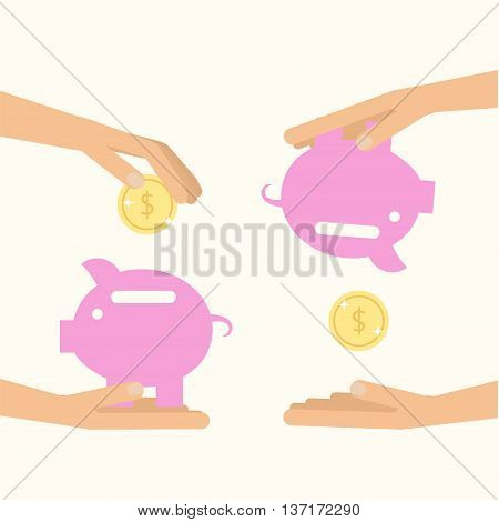 Money saving and spending. Hands holding pig with coins. Vector illustration for financial economy. Flat style