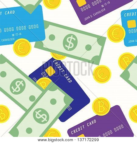 Money seamless pattern with credit card green dollars and golden coins euro bitcoin. Vector illustration for financial growth banking abundance income start up market gain prosperity. Ideal for backdrop wrapping paper fabric textile.