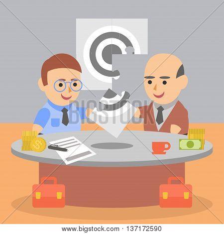 Vector clipart two businessman solve puzzle problem
