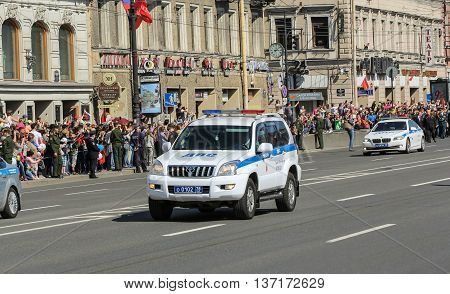 St. Petersburg, Russia - 9 May, Police Jeep on the avenue, 9 May, 2016. Memory Action