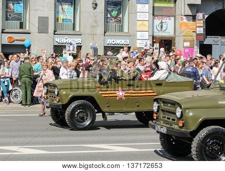 St. Petersburg, Russia - 9 May, The car with the veterans, 9 May, 2016. Memory Action