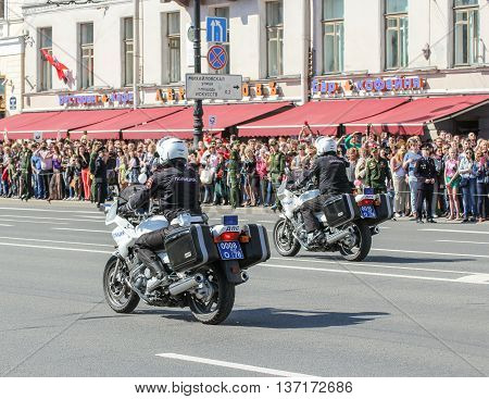 St. Petersburg, Russia - 9 May, Police on motorcycles, 9 May, 2016. Memory Action
