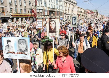 St. Petersburg, Russia - 9 May, People with portraits of relatives who died in the war, 9 May, 2016. Memory Action