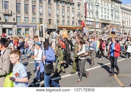 St. Petersburg, Russia - 9 May, Procession of people with portraits, 9 May, 2016. Memory Action