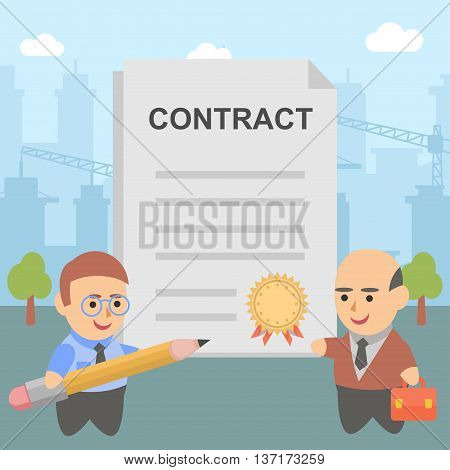 Vector illustration of two businessmen signed a contract