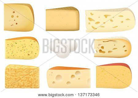 Triangular pieces of different kind of Cheese set. Parmesan mozarella swiss emmentaler cheddar gouda collection