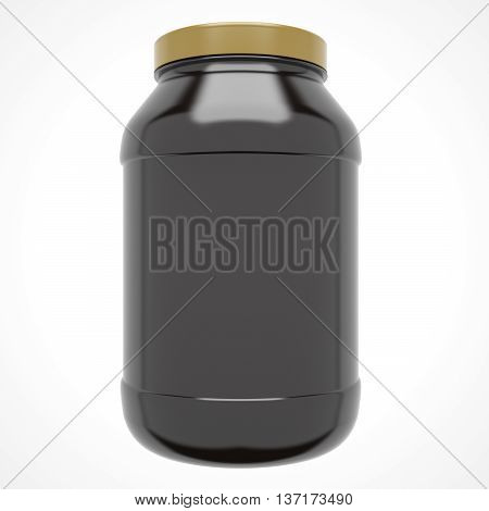 Sport Nutrition Protein Bottle with Gold Cap isolated on white