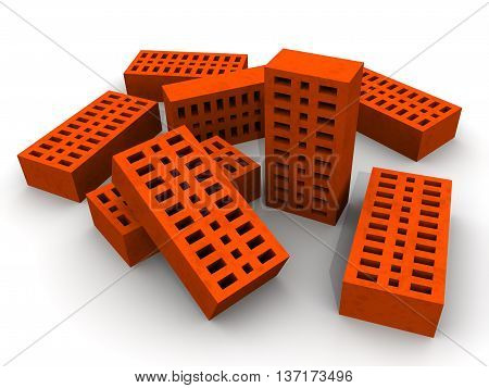 Orange ceramic bricks. Many orange ceramic bricks lying on a white surface. Isolated. 3D Illustration