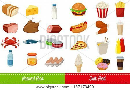 Set of icons with food and drinks for restaurant or commercial. Fast food icons. Food and Drinks icons. Vector illustration