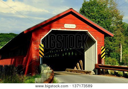 Bennington Vermont -September 18 2014: 1889 truss and lattice Paper Mill Covered Bridge over the Walloomsac River