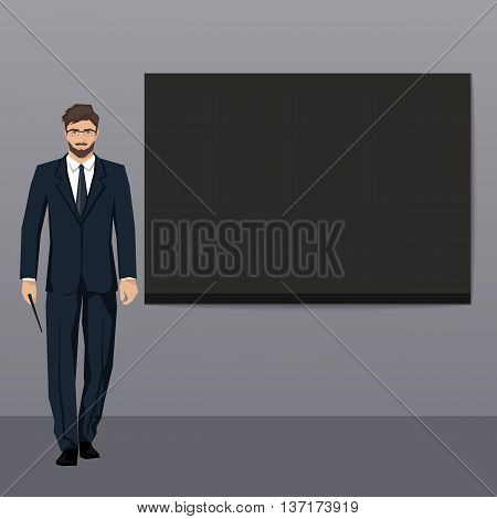 The young man in an elegant suit points to an empty board. Vector.