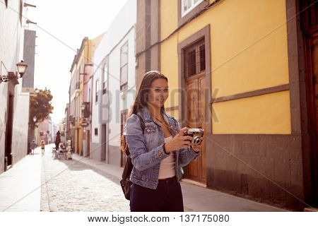 Pretty Young Girl Looking Up To Take A Picture