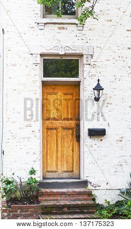 Antique Front Door and Flower Bed in Columbus Ohio German Village