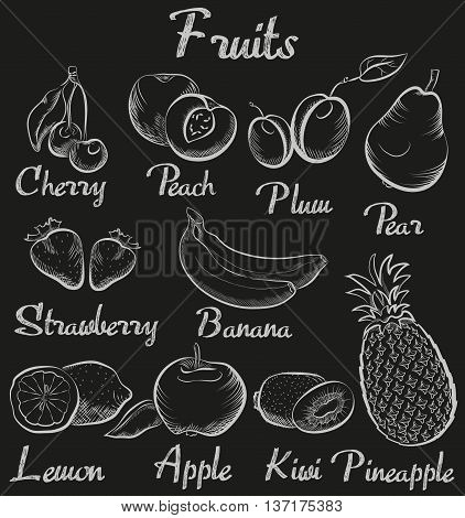 Vintage fruits. Hand-drawn chalk blackboard sketch organic fruit collection