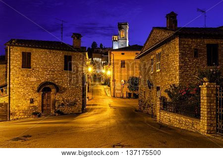 Corciano village (Umbria) at blue hour alleys
