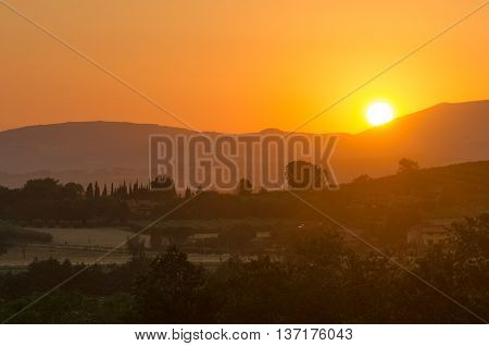Umbria landscape at sunset from Assisi with hills