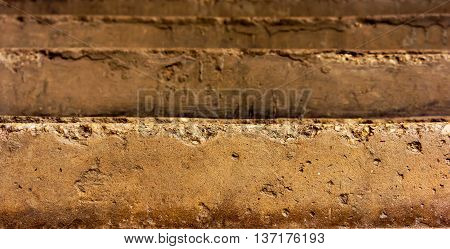 old arose steps, several pieces, brown and yellow shades