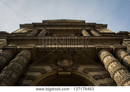 Looking up at the Entrance of the Old Museum in Paris