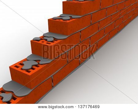 Masonry made of ceramic bricks on a white surface. Isolated. 3D Illustration