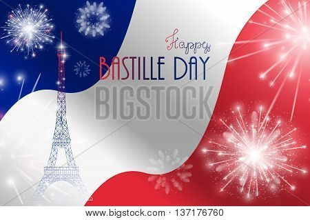 Vector illustration, card, banner or poster for the French National Day, Bastille Day, Fourteenth of July.