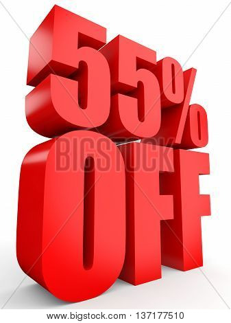 Discount 55 Percent Off. 3D Illustration On White Background.