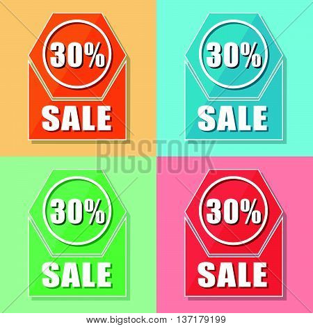 30 percentages sale, four colors web icons, flat design, business shopping concept, vector