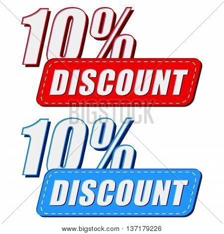 10 percentages discount in two colors labels, business shopping concept, flat design, vector